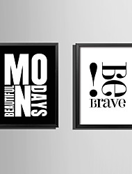 cheap -E-HOME® Framed Canvas Art Brave Letters Theme Series Framed Canvas Print One Pcs