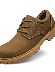 cheap -Men's Leather Shoes Cowhide Spring / Fall Comfort Oxfords Slip Resistant Yellow / Camel