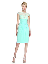 cheap -Sheath / Column Bateau Neck Knee Length Chiffon Sheer Lace Bridesmaid Dress with Pleats Criss Cross by LAN TING BRIDE®
