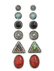 Mulheres Brincos Curtos Brinco Europeu Personalizado Vintage bijuterias Liga Formato Circular Triangular Jóias Jóias Para Festa Diário