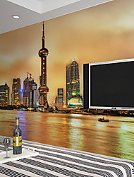 JAMMORY Art DecoWallpaper For Home Wall Covering Canvas Adhesive required Mural Dusk City Landscape XL XXL XXXL