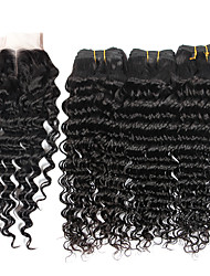 cheap -7A Brazilian Human Virgin Hair Deep Wave 4*4 Lace Closure With 3 Bundles Hair Weft
