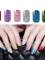cheap -2x14 PCS Shimmering Powder Pure Colour Full Nail Stickers 6 Color to Choose