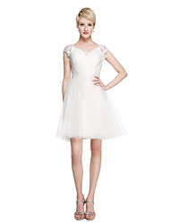 Ball Gown Queen Anne Short / Mini Lace Tulle Bridesmaid Dress with Sash / Ribbon Criss Cross by LAN TING BRIDE®
