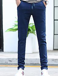 abordables -Hombre Casual Tiro Medio Microelástico Ajustado Vaqueros Pantalones,Un Color Algodón Todas las Temporadas