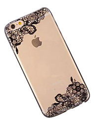 Недорогие -Кейс для Назначение Apple iPhone 6 iPhone 6 Plus Прозрачный С узором Кейс на заднюю панель Кружева Печать Мягкий ТПУ для iPhone 6s Plus