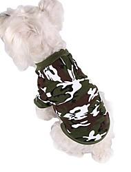 economico -Cane Felpe con cappuccio Abbigliamento per cani Di tendenza Sportivo Camouflage Grigio Verde Rosa Costume Per animali domestici