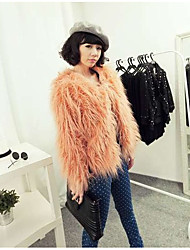 Women's Casual/Daily Simple Fur Coat,Solid V Neck Long Sleeve Winter Pink Black Faux Fur Medium