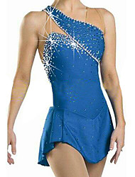 cheap -Figure Skating Dress Women's Girls' Ice Skating Dress Blue Rhinestone Sequined High Elasticity Performance Practise Leisure Sports