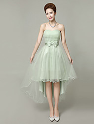 cheap -A-Line Strapless Short / Mini Tulle Bridesmaid Dress with Bow(s) Crystal Detailing Flower(s) by LAN TING BRIDE®