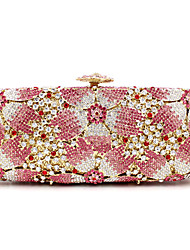 cheap -Women's Bags Metal Evening Bag Crystal / Rhinestone / Flower for Wedding / Event / Party / Formal Pink
