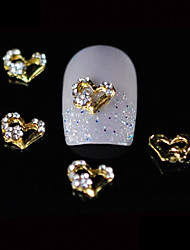 10pcs Beauty Gold Heart 3D Rhinestone Alloy Nail Design DIY Nail Art Decoration