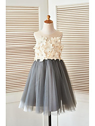 cheap -A-Line Knee Length Flower Girl Dress - Satin Tulle Sleeveless Scoop Neck with Pearl Detailing Flower by LAN TING Express