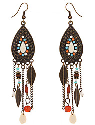 cheap -Vintage Bohemia Colorful Beads Leaves Dangle Earrings Antique Bronze Plated Long Tassel Earrings For Women Boho Jewelry