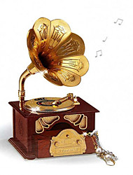cheap -1 PC Creative Music Phonograph Modelling Desktop Decoration Furnishing Articles Retro Music Box Opening Gifts