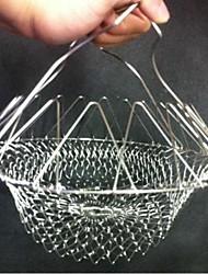 Chef Basket Foldable Steam Rinse Strain Fry Poach Boil Basket Strainer Net