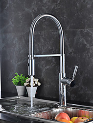 cheap -Kitchen faucet - Contemporary Art Deco / Retro Modern Chrome Tall / ­High Arc Standard Spout Pull-out / ­Pull-down Vessel
