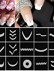 cheap -18 Sheets/Set French Manicure DIY Nail Art Tips Guides Stickers Stencil Strip