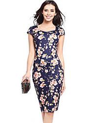 preiswerte -Damen Hülle Kleid-Formal Retro Blumen Quadratischer Ausschnitt Knielang Kurzarm Blau / Schwarz / Grün / Lila Polyester Alle SaisonsHohe