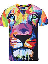 baratos -Homens Camiseta - Festa Esportes Bandagem Estampado, Arco-Íris Decote Redondo