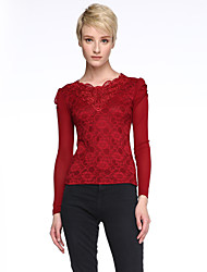 cheap -Spring Fashion Women's Sexy Lace V Neck Puff Sleeve Slim Was Thin Bottoming T-Shirt Tops