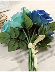 8 Head/Bouquet Elegance Blue Series Rose Tie-In Bouquet