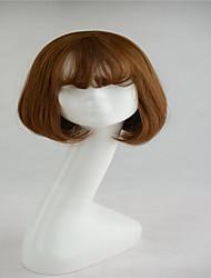 Short Bob High Quality Synthetic Wigs Natural Straight Light Brown  Air bang
