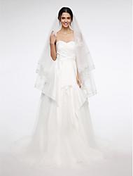 Wedding Veil Two-tier Fingertip Veils Lace Applique Edge Net