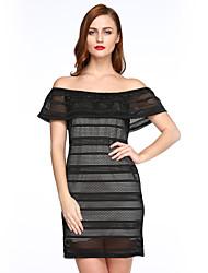 preiswerte -Damen Hülle Kleid-Ausgehen Street Schick Einfarbig Bateau Mini Kurzarm Schwarz Polyester Sommer