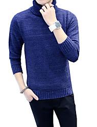 Standard Pullover Da uomo-Casual Ufficio Taglie forti Semplice Romantico Moda città Tinta unita Blu Nero Marrone A collo alto Manica lunga