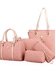 Women Bags All Seasons PVC Bag Set 5 Pcs Purse Set for Casual Beige Coffee Blue Blushing Pink