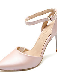 cheap -Women's Shoes Leatherette Spring Summer Stiletto Heel Bowknot for Casual Dress Party & Evening White Pink Black Blue