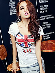 cheap -Women's Vintage/Sexy/Beach/Casual/Print/Cute/Party/Work   Short Sleeve Regular T-shirt