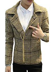 cheap -Men's Pea Coat - Plaid Shirt Collar