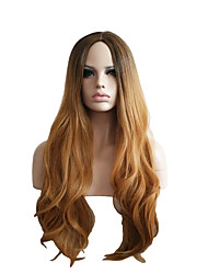Natural Wig for Women Long Haircut without Bangs Wave Brown Ombre Capless Wig