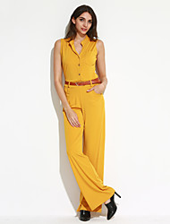 Women's Wide Leg Solid / Polka Dot / Striped White / Black / Yellow Jumpsuits,Simple Turtleneck Sleeveless