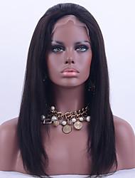 Mongolian Virgin Hair Full Lace Wig Yaki Straight Hair Natural Black Color 130% Density Human Virgin Hair Lace Wig With Adjustable Strap