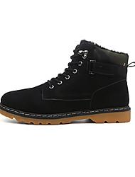 Men's Boots Winter Comfort Suede Casual Flat Heel Lace-up Black Blue Yellow Walking