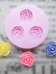 cheap -DIY Three Holes Flower Silicone Mold Fondant Molds Sugar Craft Tools Resin flowers Mould Molds For Cakes