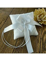 rubans ivoire arc satin 1 pièces anneau cérémonie de mariage oreiller