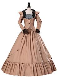 cheap -Princess Gothic Lolita Dress Classic Lolita Dress Rococo Elegant Victorian Lace Women's Dress Cosplay Brown Floral Cap Sleeve Long Sleeve Long Length Halloween Costumes