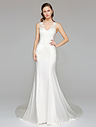 cheap -Mermaid / Trumpet Straps Chapel Train Stretch Satin Wedding Dress with Appliques by LAN TING BRIDE®