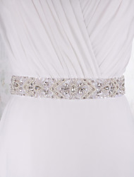 Satin Wedding Party/ Evening Dailywear Sash With Rhinestone Beading Imitation Pearl Sequins