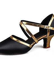 cheap -Women's Latin Salsa Leatherette Patent Leather Sandal Heel Practice Beginner Professional Indoor Performance Buckle Cuban Heel Black/Gold