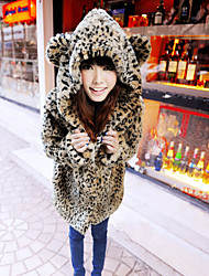 cheap -Women's Going out Cute Fur Coat,Leopard Long Sleeve Fall Brown Faux Fur Medium Thick