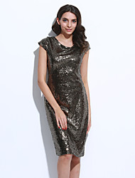 Women's Sequin Sexy Backside Deep V Sequins Bling Bling Party Bodycon Midi Dress