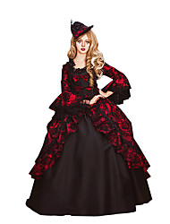 Victorian Rococo Women's One Piece Dress Red Cosplay Lace Cotton Long Sleeves Poet Floor Length