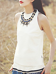 cheap -Aporia.As Women's Going out Boho Summer Blouse,Solid Stand Sleeveless White Polyester / Spandex Thin