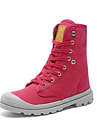 cheap -Women's Boots Spring Fall Comfort Canvas Casual Flat Heel Lace-up Black Yellow Red Gray Walking