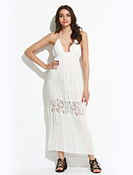 cheap -Women's Holiday Sexy Boho Loose Dress,Solid Halter Maxi Sleeveless Cotton Polyester Summer High Rise Inelastic Thin